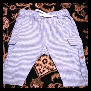H&M baby boy blue and white striped roll up pants